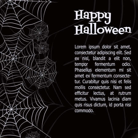 halloween background: Spider web. Black and white vector bacground for halloween
