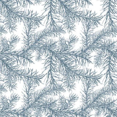 Blue fir branches seamless pattern.