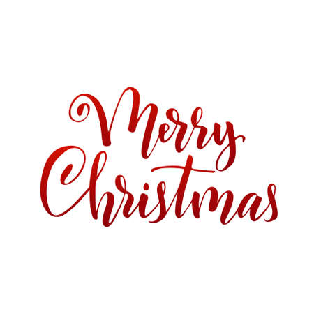 Merry Christmas. Hand written elegant phrase isoleted on white for your design. Custom vector hand lettering christmas greetings text. Can be printed on greeting cards, paper and textile designs, etc