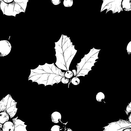 Vector sketch of Christmas holly berry. Seamless pattern .Christmas symbol.