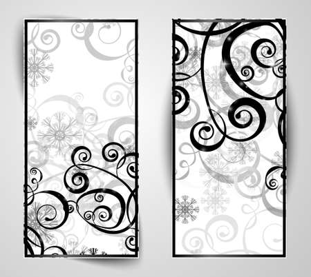 Elegant christmas black and white banner with snowflakes and lights