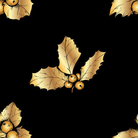 Seamless pattern with holly berries on black background