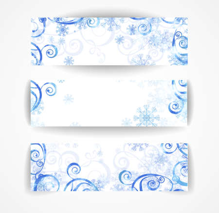 Elegant christmas blue and white banner with snowflakes and lights