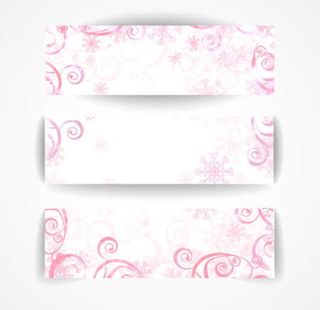 Elegant christmas pink and white banner with snowflakes and lights