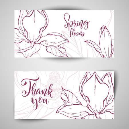Sketch linear magnolia blossom. Vector illustration.