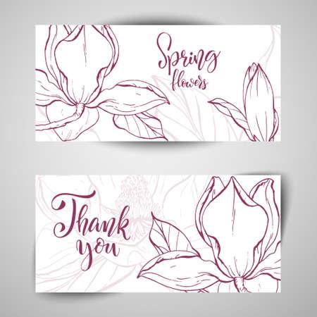Sketch linear magnolia blossom. Vector illustration.