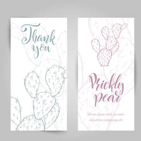 Set of banners with hand drawn prickly pear, sketch style vector illustration isolated on white background. Wild floral exotic tropical plant. Black and white of Opuntia ficus-indica