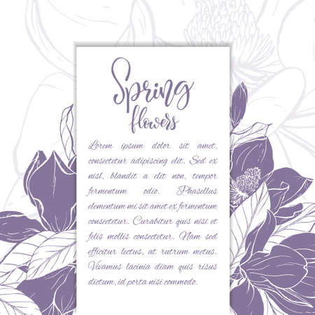 Floral background. Hand drawn vector botanical illustration. Template greeting card, wedding invitation banner with spring flowers. Sketch linear magnolia blossom.Engraved style illustration.