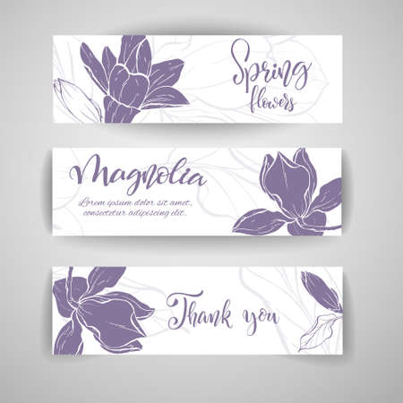 Floral baners. Hand drawn vector botanical illustration. Template greeting card, wedding invitation banner with spring flowers. Sketch linear magnolia blossom.Engraved style illustration.