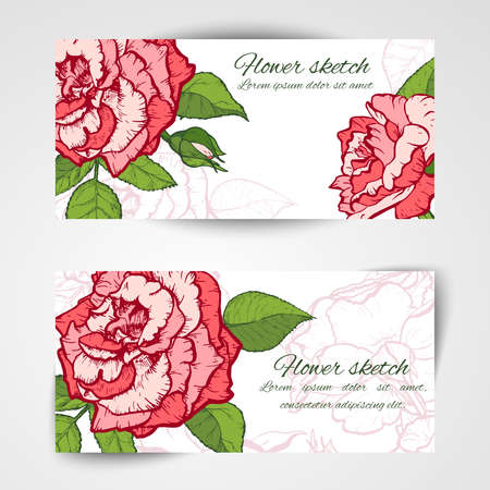 Set of horizontal banners with hand drawn cactuses, sketch style vector illustration isolated on white background.