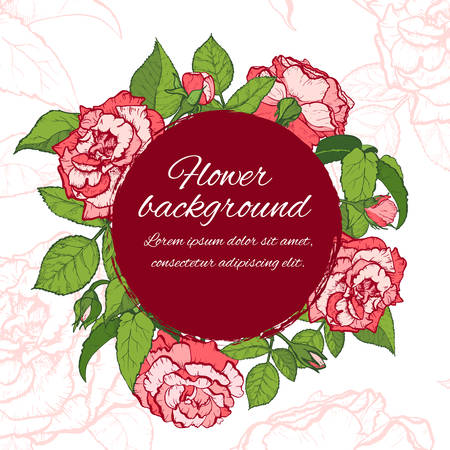 Floral background. Hand drawn vector botanical illustration. Template greeting card, wedding invitation banner with beauty roses. Engraved style illustration.