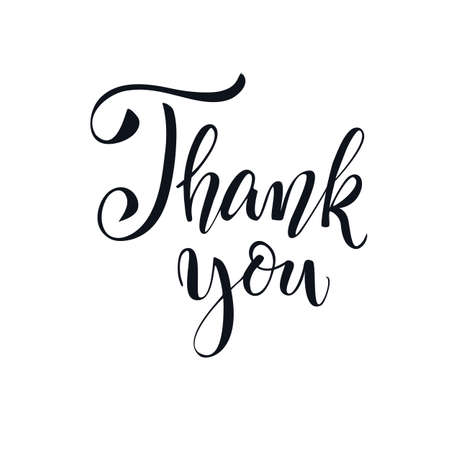 Thank You handwritten inscription. Hand written elegant phrase isoleted on white for your design. Thank You calligraphy. Can be printed on greeting cards, paper and textile designs, etc Ilustrace