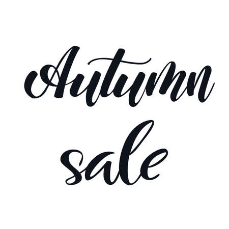 Autumn Sale hand lettering elegant phrase isoleted on white for your design. Handwritten Illustration. Can be printed on greeting cards, paper and textile designs, etc