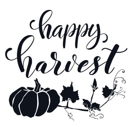 Hand drawn lettering Harvest festival. Hand written elegant phrase isoleted on white for your design. Handwritten Illustration. Can be printed on greeting cards, paper and textile designs, etc