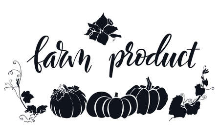 Hand drawn lettering Farm product. Hand written elegant phrase isoleted on white for your design. Handwritten Illustration. Can be printed on greeting cards, paper and textile designs, etc