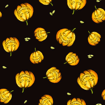 Colorful halloween pumpkin with evil scary smile. Hand drawn vector illustration. Seamless pattern. Engraved style illustration. Halloween night. Illustration