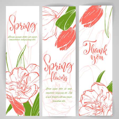 Sketch linear tulip blossom. Иллюстрация