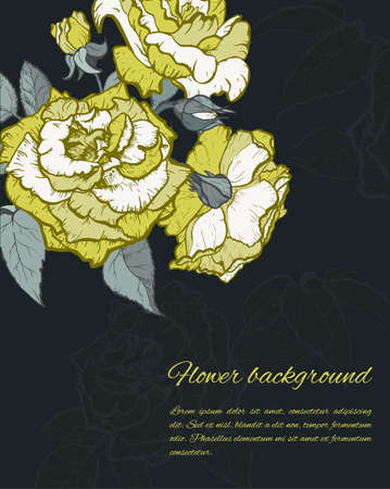 Vintage rose. Hand drawn vector illustration background.
