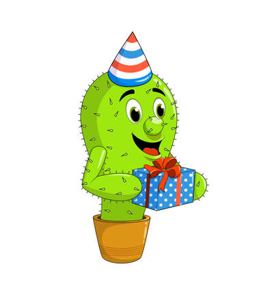 Cute cactus mascot in a party hat holding. Ilustrace