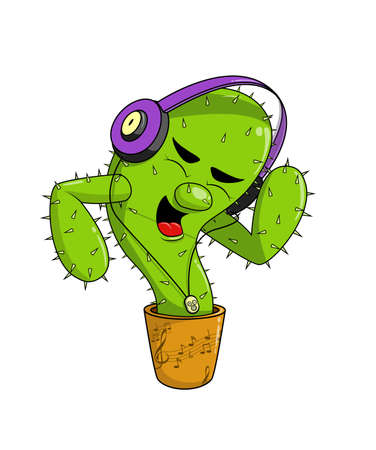 Cute happy cactus character is listening to music with headphones, dancing and singing
