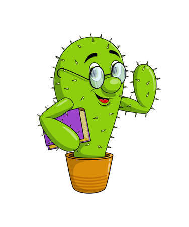 Funny happy smile cactus character in nerdy glasses with a book.