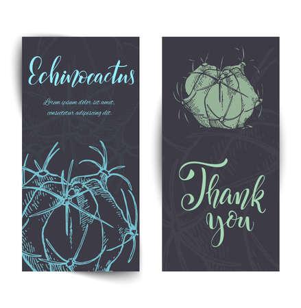 Hand drawn cacti banners Иллюстрация
