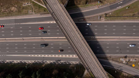 Aerial view of the M62 going towards Leeds, West Yorkshire, UK