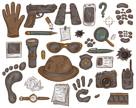 vector hand drawn set of illustration with  detective tools and evidence. Иллюстрация