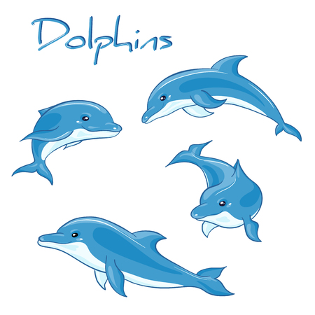 deep ocean: vector hand drawn set of cartoon dolphins in different poses.