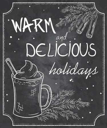 농의 컵, 크리스마스 트리, 계피와 눈송이의 지점의 윤곽선을 칠판 스타일의 크리스마스 인용의 벡터 일러스트 레이 션입니다.