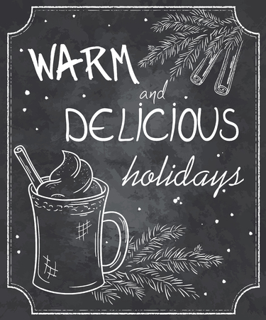 eggnog: vector illustration of chalkboard style christmas quote with outlines of cup of eggnog, branch of christmas tree, cinnamon and snowflakes. Illustration