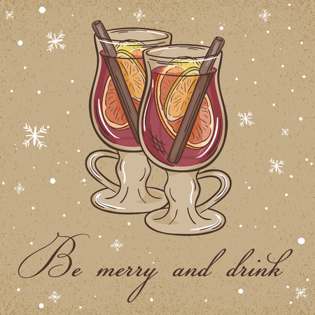 vector illustration of christmas kraft paper card with mulled wine label and snowflakes. Can be used for greeting card, invitation, banner and poster.