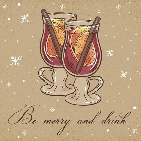 Vektor-Illustration von Weihnachten Packpapierkarte mit Glühwein-Label und Schneeflocken. Kann für Grußkarten, Einladungen, Banner und Poster verwendet werden.