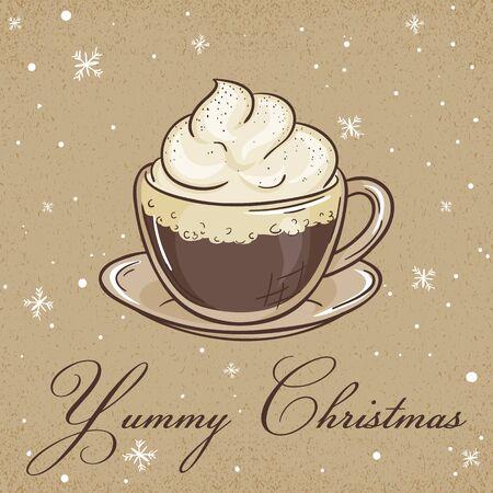 vector illustratie van Kerst kraftpapier kaart met Weense koffie label en sneeuwvlokken. Kan worden gebruikt voor de wenskaart, uitnodiging, banner en poster.