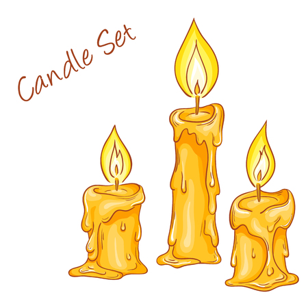 traditional christmas dinner: vector illustration of set with isolated cartoon hand drawn melted candles.