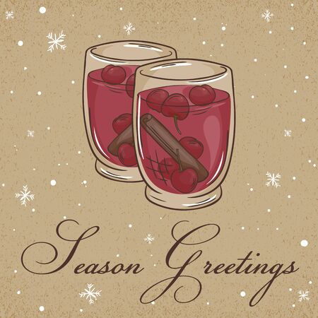 sangria: vector illustration of christmas kraft paper card with red sangria, label and snowflakes. Can be used for greeting card, invitation, banner and poster.