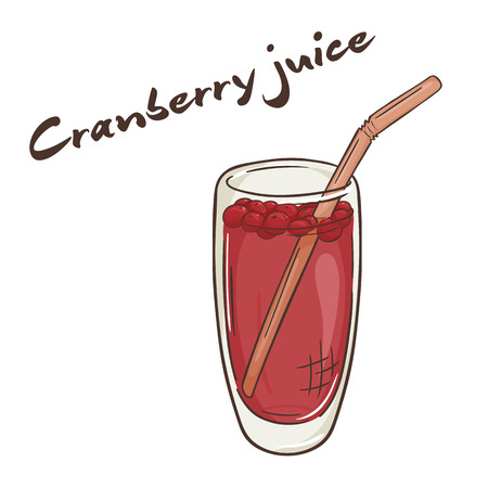 cranberry illustration: vector printable illustration of isolated cup of cranberry juice with label.