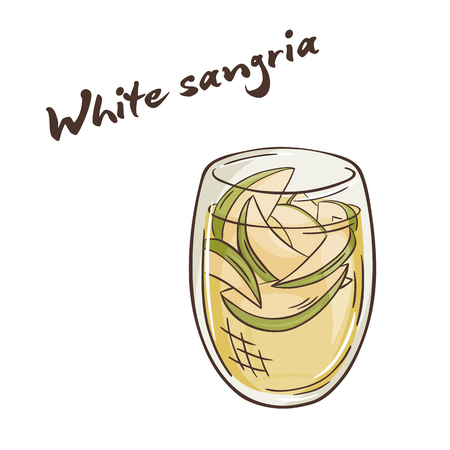 comiendo frutas: vector printable illustration of isolated cup of white sangria with label. Vectores