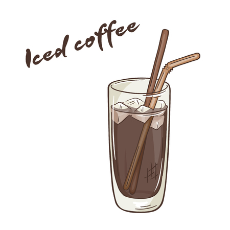 vector printable illustration of isolated cup of iced coffee with label.