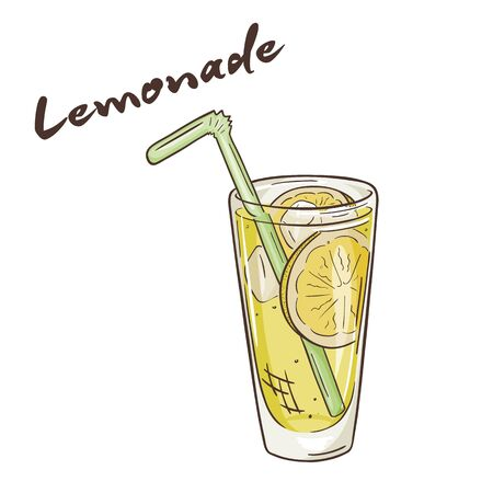 limon caricatura: vector printable illustration of isolated cup of lemonade with label.