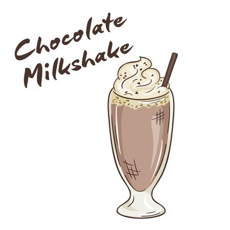 milkshake: vector printable illustration of isolated cup of chocolate milkshake with label.