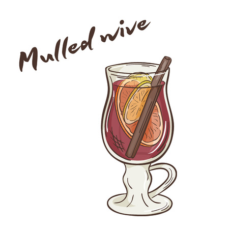vector printable illustration of isolated cup of mulled wine with label.