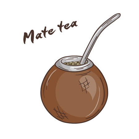 mate: vector printable illustration of isolated cup of mate tea with label. Illustration