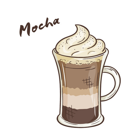 mocha: vector printable illustration of isolated cup of mocha with label. Illustration