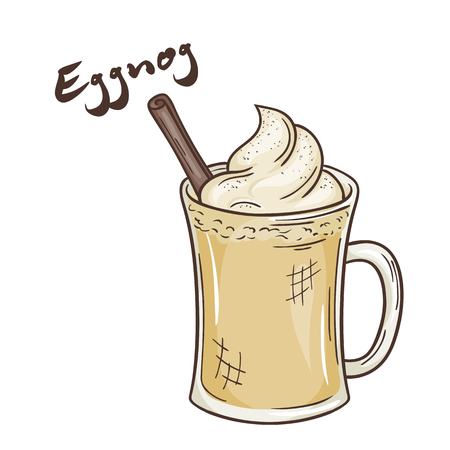 eggnog: vector printable illustration of isolated cup of eggnog with label.