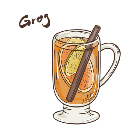 grog: vector printable illustration of isolated cup of grog with label. Illustration