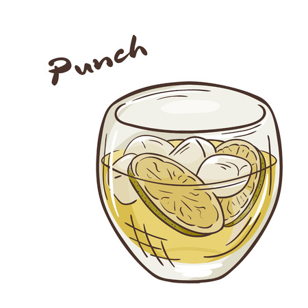 punch: vector printable illustration of isolated cup of punch with label.