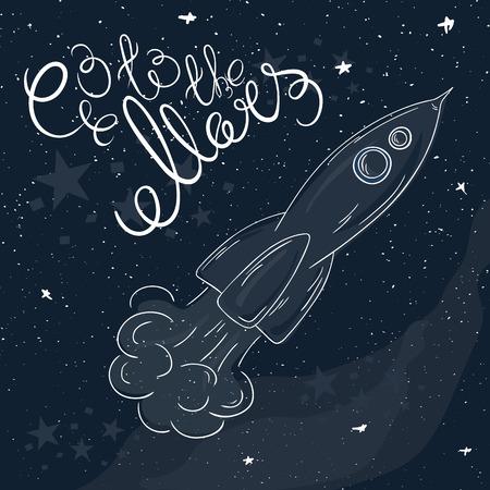 brandweer cartoon: vector hand getekend afdrukbare illustratie van vliegende raket met sterren en de Melkweg op de achtergrond en het etiket - ga naar de Mars.