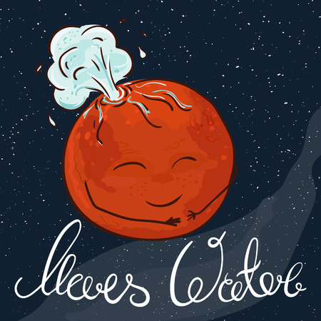 cartoon world: vector hand drawn printable illustration of Mars planet with stars and milky way on the background. Mars is gushing with water.