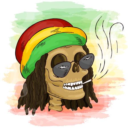 vector printable hand drawn reggae smoking skull wearing rasta hat, sunglasses and dreadlocks on watercolor background. Can be printed on mug, pillow, t-shirt.